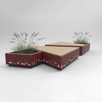 Banc public / de jardin / design original / en bois