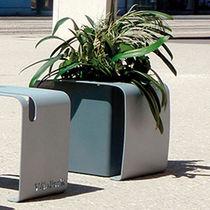 Jardinière en acier galvanisé / rectangulaire / avec range-vélos / contemporaine