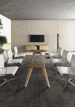Table de réunion contemporaine / en verre / en plaqué bois / ronde