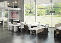 Bureau pour open space / en bois / en acier / contemporain