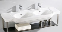 Vasque double / suspendue / ovale / en porcelaine