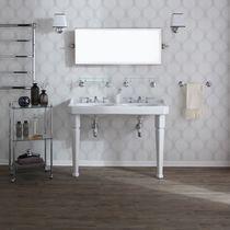 Vasque double / sur pied / rectangulaire / en céramique
