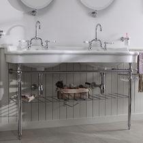 Vasque double / suspendue / en céramique / en métal