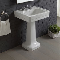 Vasque sur pied / rectangulaire / en porcelaine / traditionnelle