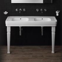 Vasque double / à poser / rectangulaire / en céramique
