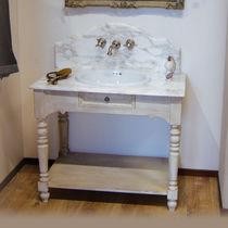 Meuble vasque à poser / en bois / en céramique / classique