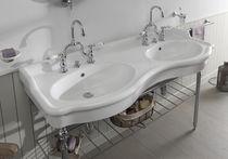 Meuble vasque double / à poser / en métal / en céramique