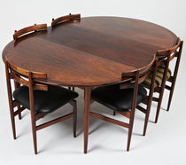 Table à manger design scandinave / en bois de rose / ronde / ovale
