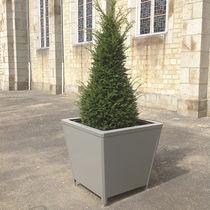 Jardinière en bois / en acier thermolaqué / contemporaine / pour espace public
