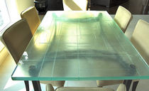 Table contemporaine / en verre / rectangulaire