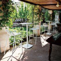 Tabouret de bar contemporain / en fonte d'aluminium / de jardin