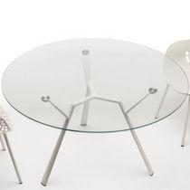 Table contemporaine / en verre / en aluminium / ronde