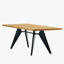 Table contemporaine / en plaqué bois / rectangulaire / par Jean Prouvé