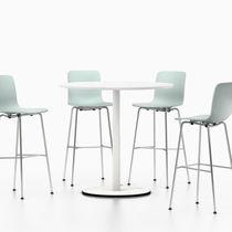 Table mange-debout contemporaine / en mélaminé / en acier / ronde