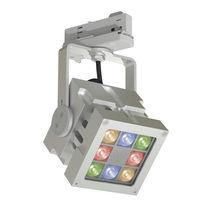 Éclairage sur rail LED RGB / carré / en aluminium / professionnel