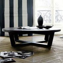 Table basse contemporaine / en bois / rectangulaire / ronde