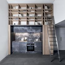 Cuisine contemporaine / en bois / en pierre / compacte