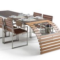 Table à manger contemporaine / en marbre / en iroko / en verre trempé