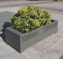 Jardinière en acier / rectangulaire / avec banc intégré / contemporaine