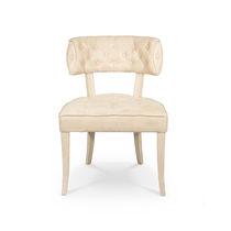 Chaise de salle à manger contemporaine / tapissée / en velours / blanche