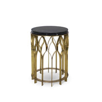 Table d'appoint contemporaine / en laiton / en marbre / ronde