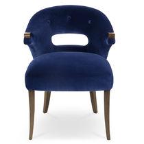 Chaise de salle à manger contemporaine / tapissée / avec accoudoirs / en velours