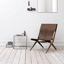 Chaise design scandinave / pliante / en chêne / en cuir