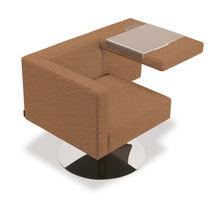 Fauteuil visiteur contemporain / en tissu / en cuir / piètement central