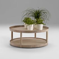 Table basse contemporaine / en chêne / ronde / professionnelle
