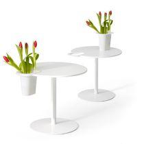 Table contemporaine / en Corian® / ronde / professionnelle