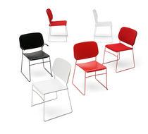 Chaise visiteur contemporaine / tapissée / empilable / à tablette