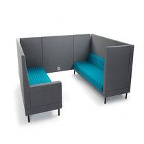 Canapé contemporain / en cuir / en bois / en métal chromé
