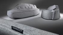 Canapé contemporain / en bois / en métal chromé / en tissu