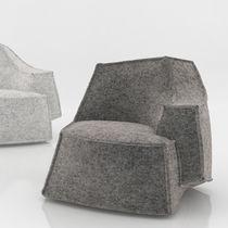 Fauteuil visiteur contemporain / en bois / en chrome / en tissu