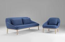Canapé contemporain / en cuir / bois / en acier