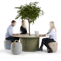 Table de travail contemporaine / en bois / en cuir / en tissu
