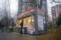 Kiosque commercial / à journaux / en acier galvanisé / préfabriqué