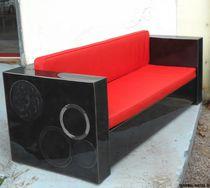 Canapé contemporain / en tissu / en cuir / en acier