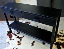 Console contemporaine / en acier / rectangulaire / avec tiroir