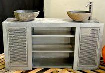 Meuble vasque double / à poser / en acier / contemporain