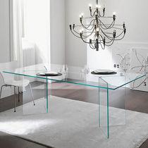 Table contemporaine / en verre / rectangulaire