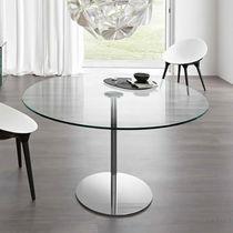 Table contemporaine / en verre trempé / en métal chromé / rectangulaire
