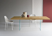 Table contemporaine / en chêne / en verre / rectangulaire