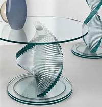 Guéridon contemporain / en verre / rond