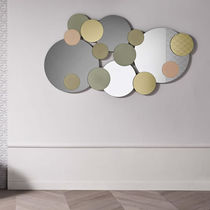 Miroir mural / contemporain / rond / doré