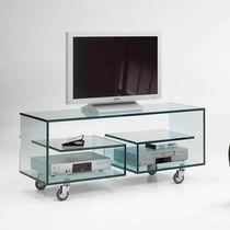 Meuble TV contemporain / hi-fi / à roulettes / en verre