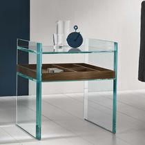 Table d'appoint contemporaine / en noyer / en MDF / en verre