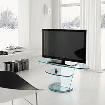 Meuble de télévision contemporain / en verre