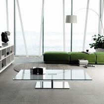 Table basse contemporaine / en verre / en métal chromé / rectangulaire