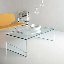 Table basse contemporaine / en verre / rectangulaire
